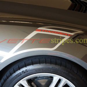 Shark Gray C7 Stingray carbon 65 fender hash marks in blade silver with red Stingray script