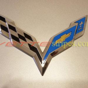C7 Corvette emblem overlay in gloss tension blue
