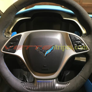 C7 steering wheel emblem overlay in tention blue