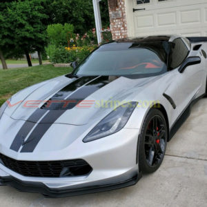 Silver C7 Corvette with carbon flash dual racing 4