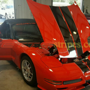 Torch red C5 convertible with full length dual racing stripe 4 in black and silver